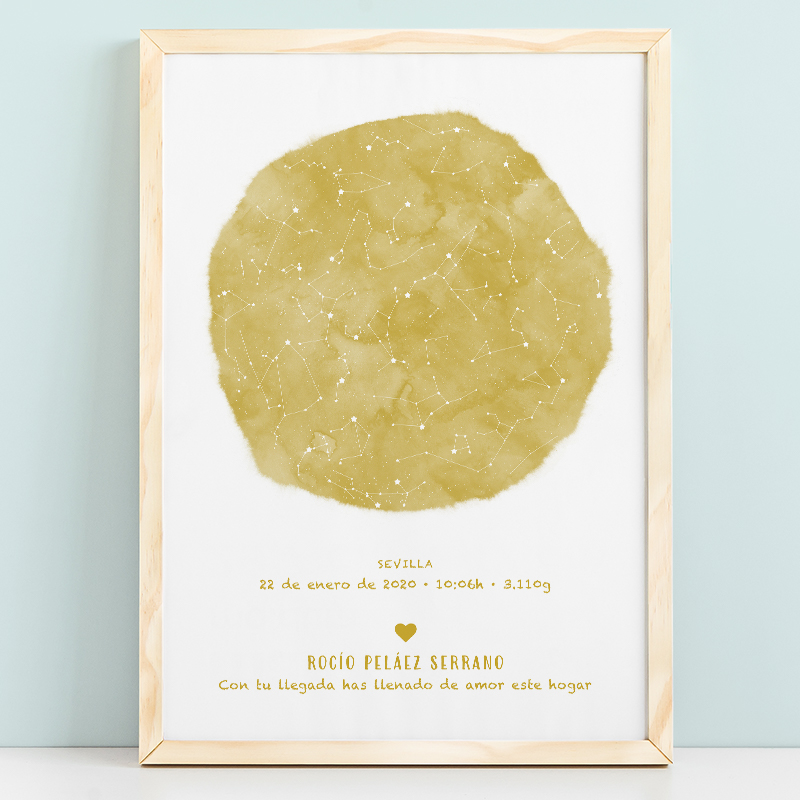 Mapa estelar infantil de un día concreto en color mostaza, regalo ideal para nacimientos, bautizo o decorar la habitación