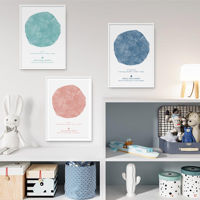 Mapas estelares con diseño infantil de un día concreto, regalo ideal para nacimientos, bautizo o decorar la habitación